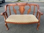 Antique cherry Settee Loveseat Bench Couch Empire Carved Parlor Vintage Entry