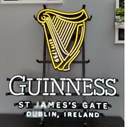 Guinness Led/neon Beer Sign 20×22 In, Yellow And White Light Metall, Glass, Plast