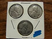 1943-p,d,s Wwii Error Lincoln Wheat Penny Set Obo Make An Offer
