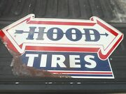 Rare Vintage Hood Tires Gas Service Station Metal 2-sided Advertising Arrow Sign