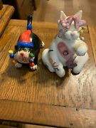 Set Of Two Adorable Cat Figurines One Amy Lacombe Love Cat With Free Shipping