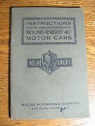 1914 1915 Moline Knight Model 40 Owner's Owners Manual, Original
