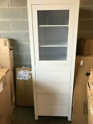 Wyndham Collection Sheffield 24 Inch Linen Tower In Gray W/ Shelved Cabinet And 4