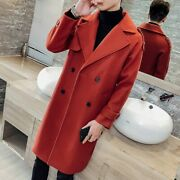 Winter Menand039s Thickened Woolen Jacket Trench Coat Outwear Knee-length Buttons New