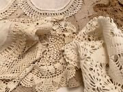 Lot Of Vintage Crochet Doilies Tablecloth Lace Country Wedding Craft