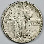 1924-d Standing Liberty Quarter. Full Head. Natural Uncleaned. Unc. 160813
