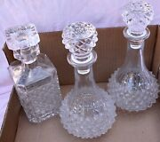Lot Of 3 Beautiful Lead Crystal Cut-glass Wine And Whisky Decanters With Stoppers