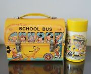 Vintage Walt Disney School Bus Domed Lunchbox And Thermos