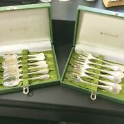 Christofle Marly Coffee Spoon And Dessert Fork 6each Set Silver Cutlery