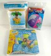 Beach Balls And Inflatable Palm Tree Cooler Lot All New And Sealed Pool Party 48