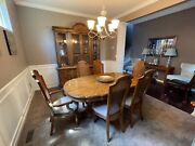 Vintage 1970and039s Wood Dining Set With Six Chairs And Matching China Cabinet.
