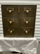 Vtg Library Bureau Sole Makers 6 Drawer Library Card Catalog File Cabinet Steel