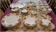 Vintage Royal Albert Old Country Roses Bone China Dinnerware 58 Pieces