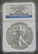2011 S Burnished American Silver Eagle 25th Anniversary Ngc Ms70 Early Release