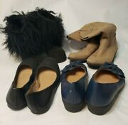 Lot Of 4 Size 8 Women's Shoes Uggs Boots, Khaki Rampage, Flats Blue Comfortview