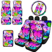 Butterfly Car Seat Covers For Women 15and039and039steering Wheelseat Covers Pad Full Set