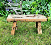 Antique Wooden Stool Small Rustic Side Table Farmhouse Decor