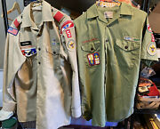 Vtg Lot Of 2 Mens' Boy Scout Asst. Scoutmaster Shirts 1 W/40 Year Service Star