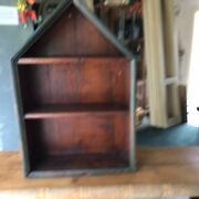 Early Primitive Unusual Wooden Hanging Wall Shelf