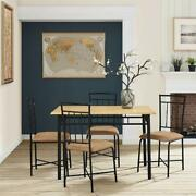 5 Piece Dining Set Wood Metal 4 Chairs And Table Kitchen Breakfast Furniture New