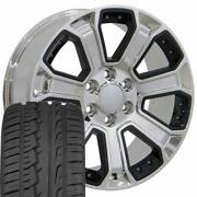 5661 Chrome And Black 22x9 Wheels 285/45r22 Tires Set Fit Gmc Cadillac Chevy