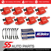 Acdelco Double Platinum Spark Plug + Racing Ignition Coil Wireset For Chevrolet