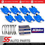 Acdelco Double Platinum Spark Plug + Engine Ignition Coil Wireset For Chevrolet