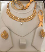 22k Hallmark 916 Pure Solid Gold Necklace Set With Earrings