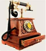 Antique Brass Victorian Rotary Dial Telephone Maharaja Wooden Phone Home Decor
