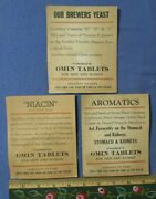 Antique Medical Omin Tablets 3 Stand Up Advertising Signs For Stomach And Kidneys