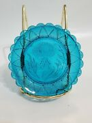 Vtg Pairpoint Cup Plate Turquoise Glass Thistle Floral Crystal Window Ornament