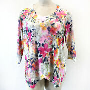 Alfred Dunner Plus Pink Floral Bead Lace Bottom Top Blouse 2x
