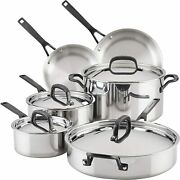Kitchenaid 5-ply Clad Polished Stainless Steel Cookware Pots And Pans Set 10 Pi