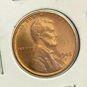 1945-s Us Lincoln Wheat Cent Penny, Unc