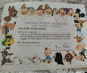 Wwii United States Treasury - Disney Certificate For Purchasing War Bonds