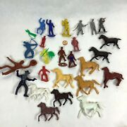 Vintage Cowboys Indians And Horses Toy Figure Lot With 2 Mpc