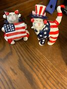 Set Of Two Adorable Cat Figurines Amy Lacombe 4th Of July With Free Shipping