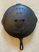 Griswold 12 719 Slant Logo Erie Skillet With Fully Marked Low Dome Cover Rare
