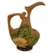 Roseville Pottery Water Lily Brown Ewer 11-10