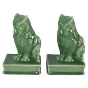 Rookwood Pottery 1945 High Glaze Green Owl Bookends 2655