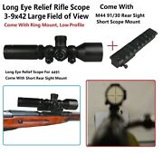 Mosin Nagant 3-9x42 Long Eye Relief Scout Scope,wide Angle+rail Mount F M44 9130