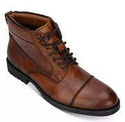 Kenneth Cole Reaction Leather Mens Brewster Jack Boots Cognac 9.5m