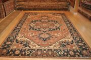 On Sale 9and039 X 12and039 Top Quality Heris Handmade Wool Rug Rust Blue Navy Beige