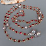 Cultured Purple Keshi Pearl Fuchsia Color Cz Pave Long Chain Long Necklace 49