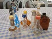 Many Vintage Primitive 8 Bottles Small Wine Glass Empty Used Old Collectibles