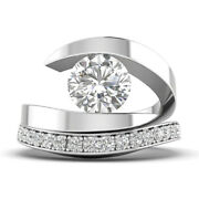 1.46ct D-si1 Diamond Round Engagement Ring 14k White Gold Any Size