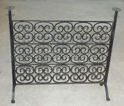 Antique Spanish Black Wrought Iron Fireplace Screen W Candle Holders