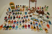 Lot Of Vintage Playmobil Toy Figures People Animals Accessories 1970's - 1990's