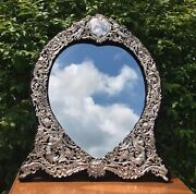 Antique London Sterling Silver Heart Cherub Mirror. By William Comyns And Sons Ltd
