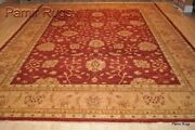 On Sale Fine 9x12 Ft. Top Quality Handmade Red Gold Floral Rug 100 Wool Pile